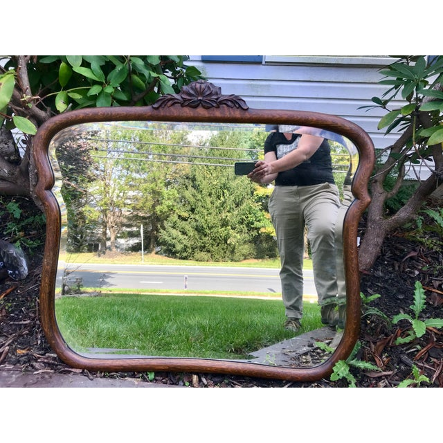 Early 1900's Curved Wooden Wall Mirror For Sale - Image 12 of 12