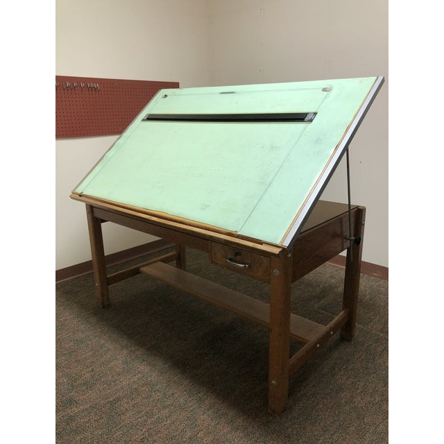 Vintage Industrial Wood Drafting Table With Tilt Top by ...