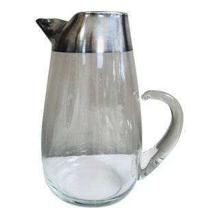 Vintage Dorothy Thorpe Silver Banded Water Pitcher For Sale