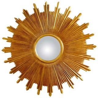 Large Giltwood Carved Convex Sunburst Mirror For Sale