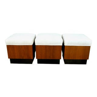 Vintage Danish Modern Style Trio of Wood Ottoman Stools- Set of 3 For Sale