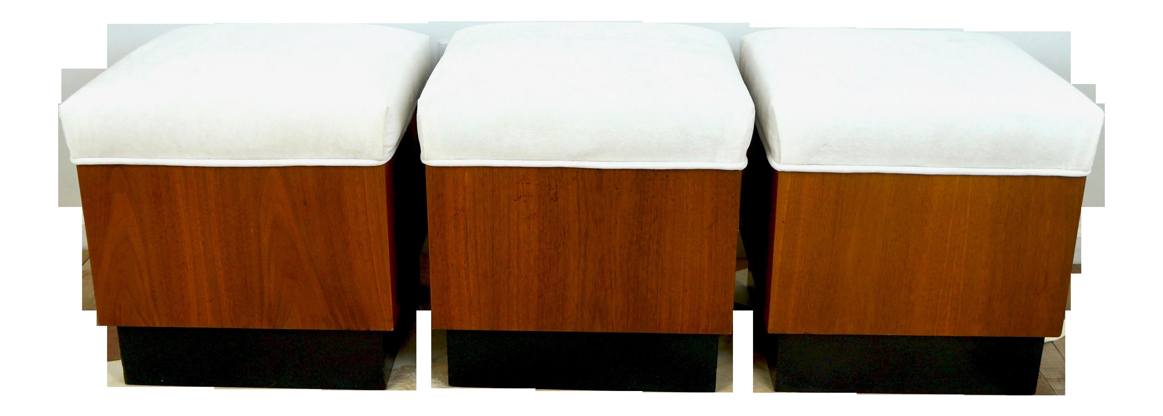 Image of: Vintage Danish Modern Style Trio Of Wood Ottoman Stools Set Of 3 Chairish