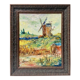 Vintage Postimpressionist Windmill European Oil Painting For Sale