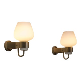 Hans Bergstrom Pair of Wall Lights, Ateljé Lyktan, Sweden, 1950s For Sale