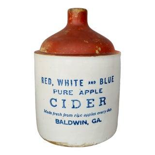 Vintage Rustic Ceramic Cider Jug For Sale