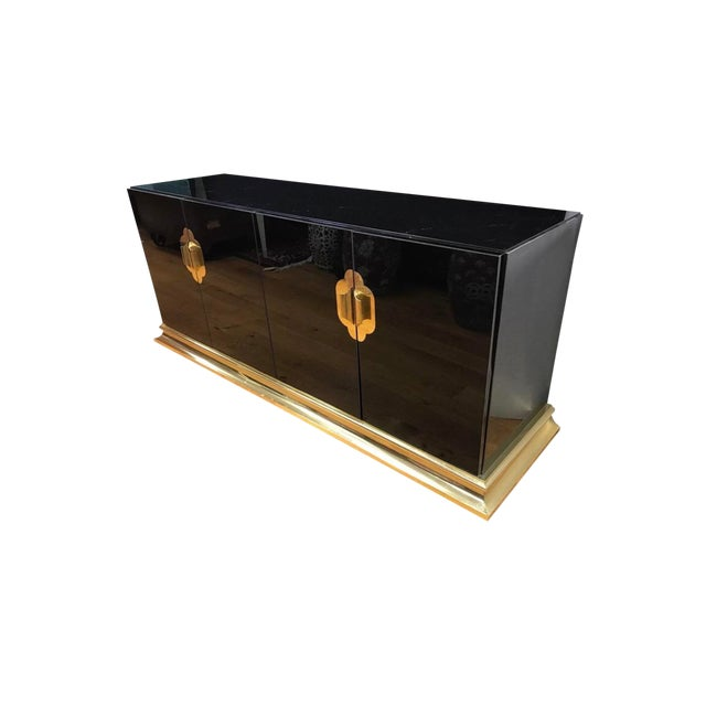 Art Deco Black Lacquer and Brass Sideboard Credenza Buffet Bar For Sale
