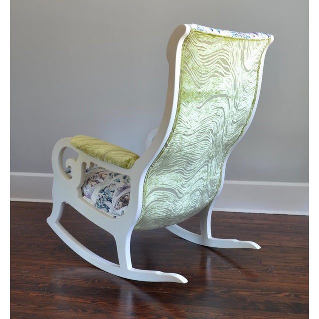Upholstered Wood Rocking Chair in Antique White With Moth Print Velvet -  Image 4 of 6 - Upholstered Wood Rocking Chair In Antique White With Moth Print