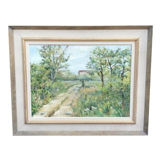 Impressionistic Original Painting of a Pastoral Country Road and Meadows Scene For Sale