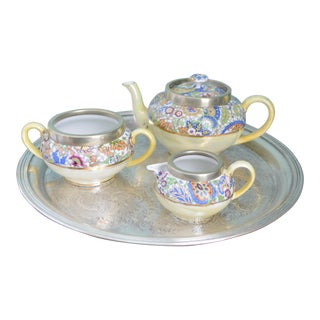 Antique English Tea Service & Tray - Set of 4 For Sale