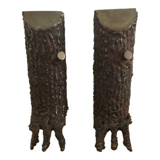 Vintage Brutalist Metal Tree Sculptural Bookends - a Pair For Sale