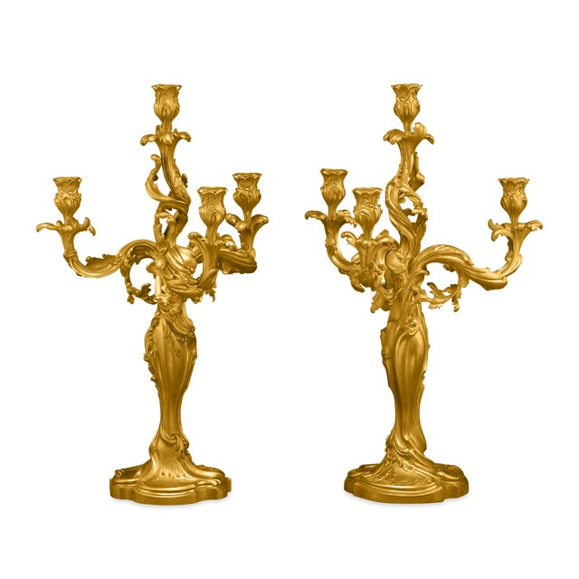 Gold Pair Of 19th Century Doré Bronze Candelabra For Sale - Image 8 of 8