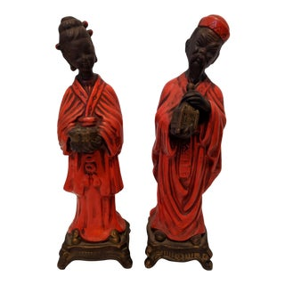 A Pair- Ceramic Red and Brown Asian Man and Woman Chinoiserie Figurines For Sale