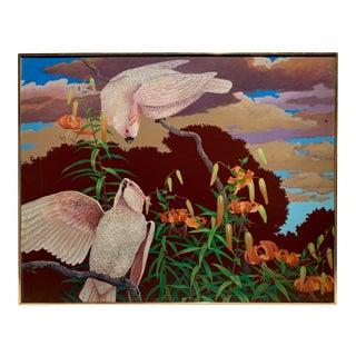 Parrot Oil Painting by J Salem 1979 For Sale