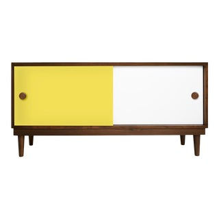Lukka Modern Kids Credenza Console in Walnut With Yellow Finish For Sale
