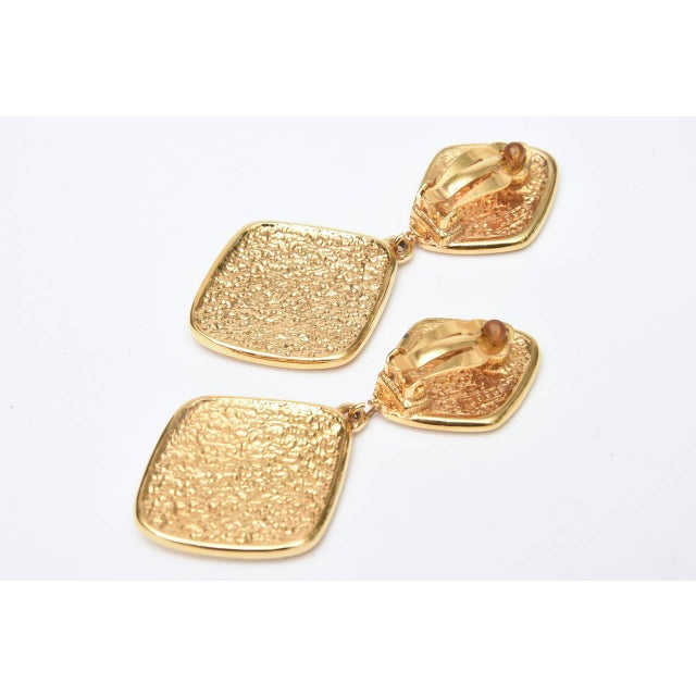 Chanel Marked Double Criss Cross Hanging Clip on Earrings - a Pair For Sale In Miami - Image 6 of 9