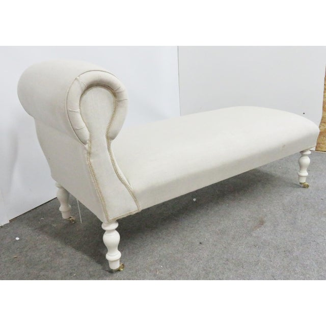 Shabby Chic Linen Upholstered Chaise Lounge