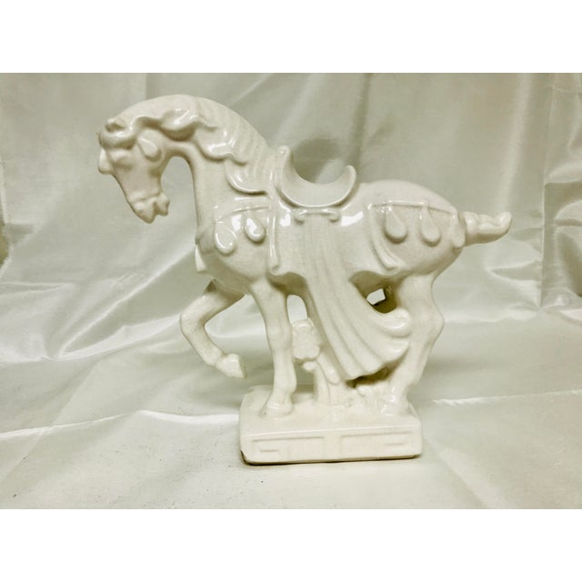 1970s Chinoiserie White Crackle Glaze Ceramic Horse For Sale - Image 10 of 10