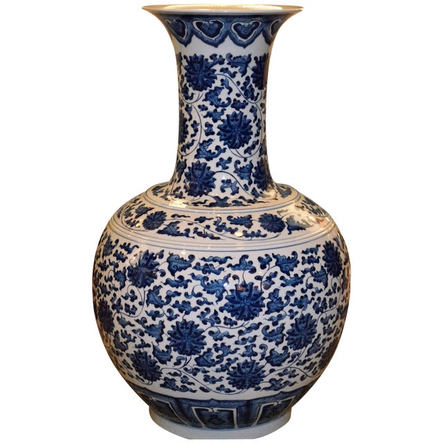 Monumental Blue and White Floor Vase - Image 1 of 3