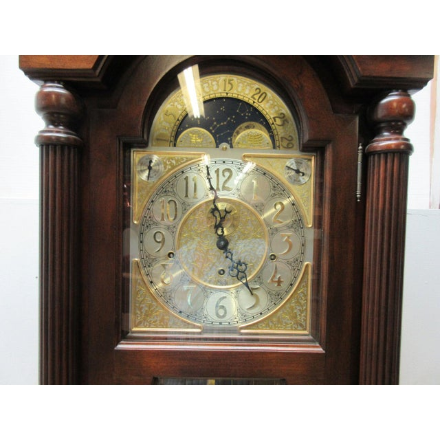 Glass Cherry Flame Mahogany Broken Arch Grand Fathers Clock For Sale - Image 7 of 10