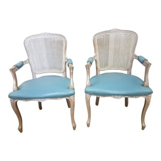 1980s Vintage Classic Regency Armed Caned Chairs - a Pair For Sale