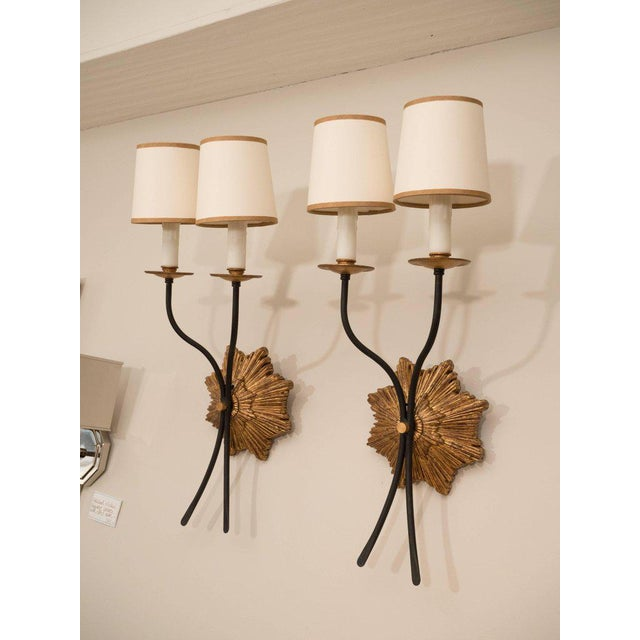 Pair of Gilt Iron Sconces For Sale In New York - Image 6 of 8