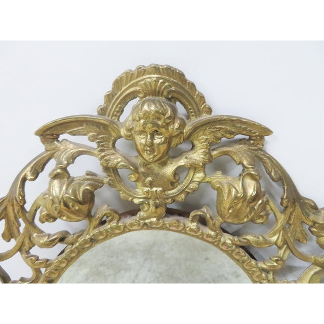 Victorian Style Brass Wall Mirror For Sale - Image 5 of 6