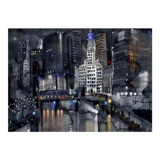 Fine Art Giclee Print Of Chicago Bridges For Sale