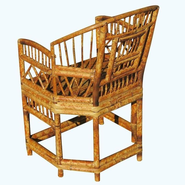 """""""Brighton"""" Tiger Bamboo Armchair For Sale - Image 4 of 5"""
