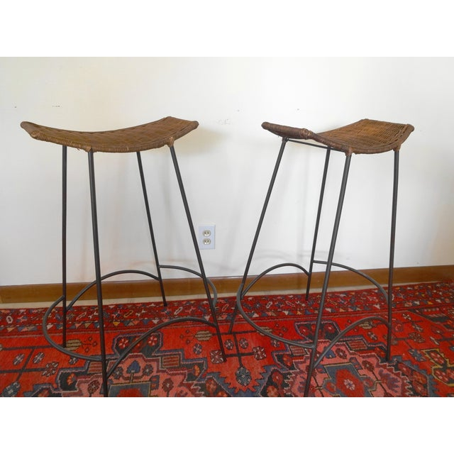 Boho Chic 1960s Arthur Umanoff Iron and Wicker Bar Stools - a Pair For Sale - Image 3 of 6