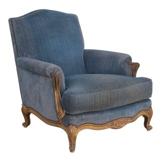 Single French Giltwood and Velvet Louis XV Style Armchair For Sale