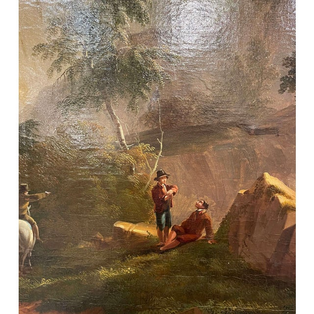 Gold 19th Century French Oil on Canvas Pastoral Painting in Carved Gilt Frame Signed For Sale - Image 8 of 13