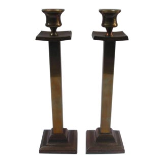 Vintage Brass Candle Holders - A Pair For Sale