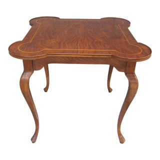 20th Century Queen Anne Burl Patchwork Game Card Table For Sale