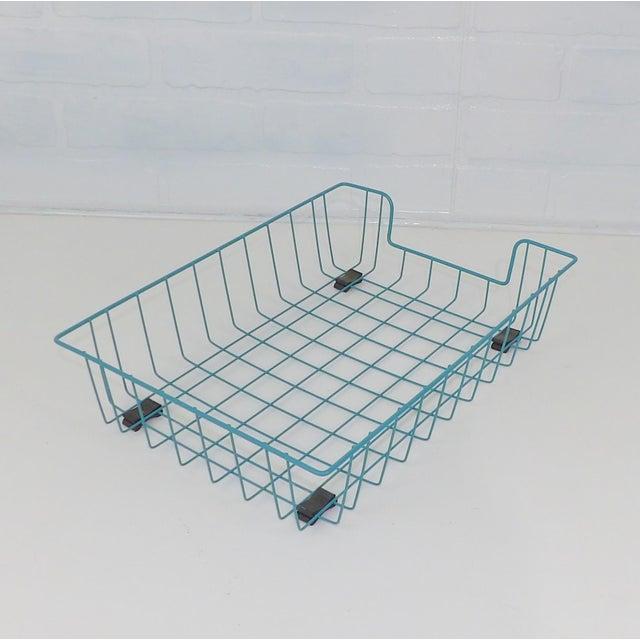 Teal Aqua Blue Mid-Century Modern Metal Wire File Basket or Magazine Rack For Sale - Image 5 of 7