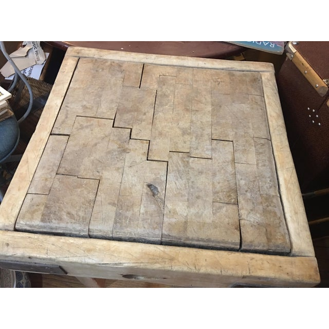 Old English Wood Butcher Block on Stand For Sale - Image 4 of 6
