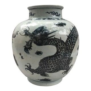 Chinese Black & White Dragon Vase For Sale