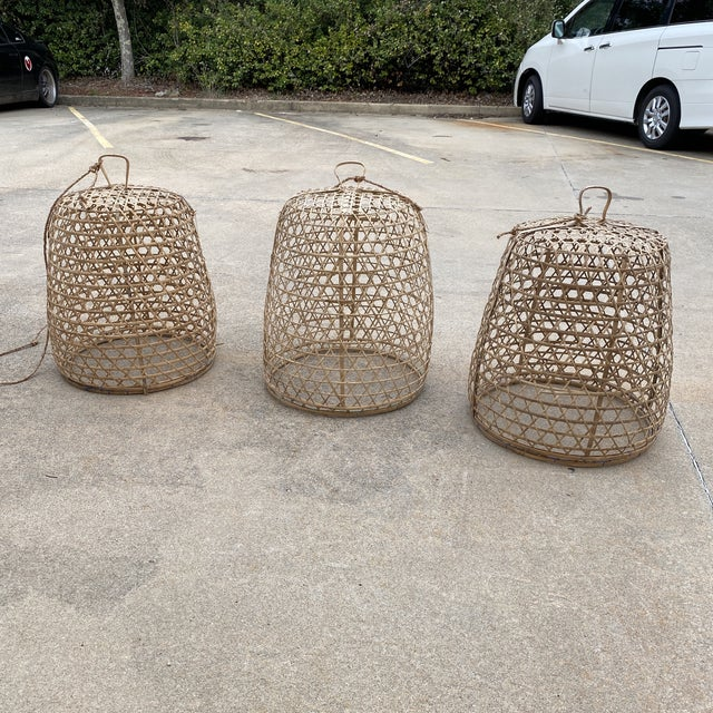 1970s 1970s Large Bohemian Wicker Pendant Chandeliers - Set of 3 For Sale - Image 5 of 5
