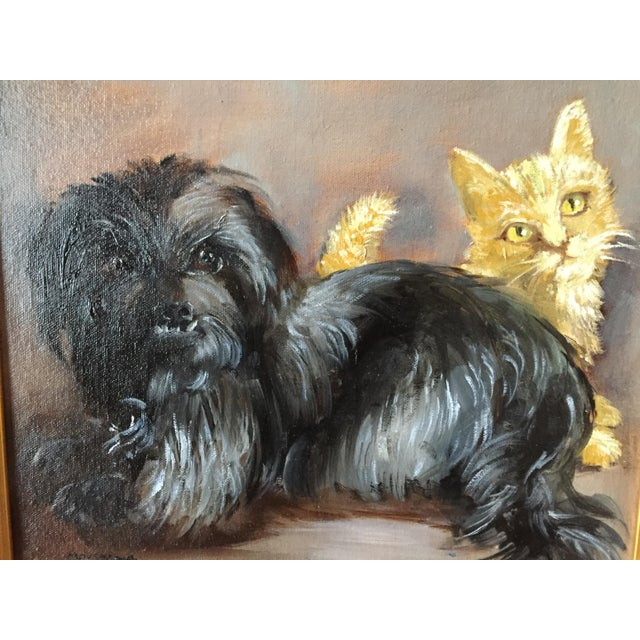 A charming painting of Pepper, the cairn, and Saffron, the ginger cat. The painting entitled Frenemies was on view at the...