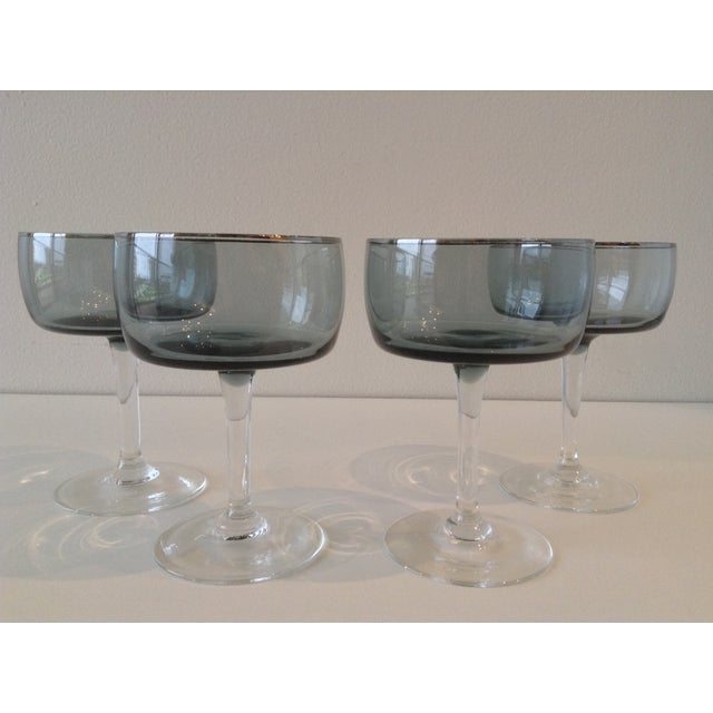 Silver Rimmed Smoke Blue Champagne Coupes - S/4 - Image 2 of 7