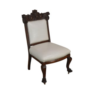 Renaissance Revival Antique Carved Mahogany Parlor Side Chair Possibly Karpen For Sale