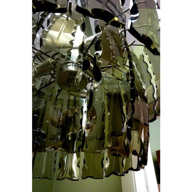 Fontana Arte Fontana Arte Smoked Glass Chandelier For Sale - Image 4 of 7