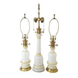 Warren Kessler Opaline Glass Lamps - Set of 3 For Sale