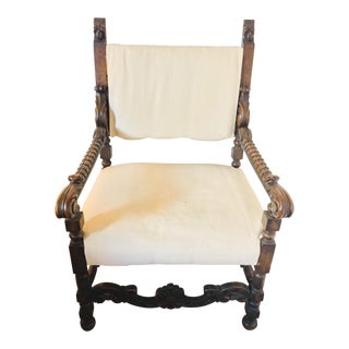 17th Century Carved Walnut Renaissance Chair For Sale
