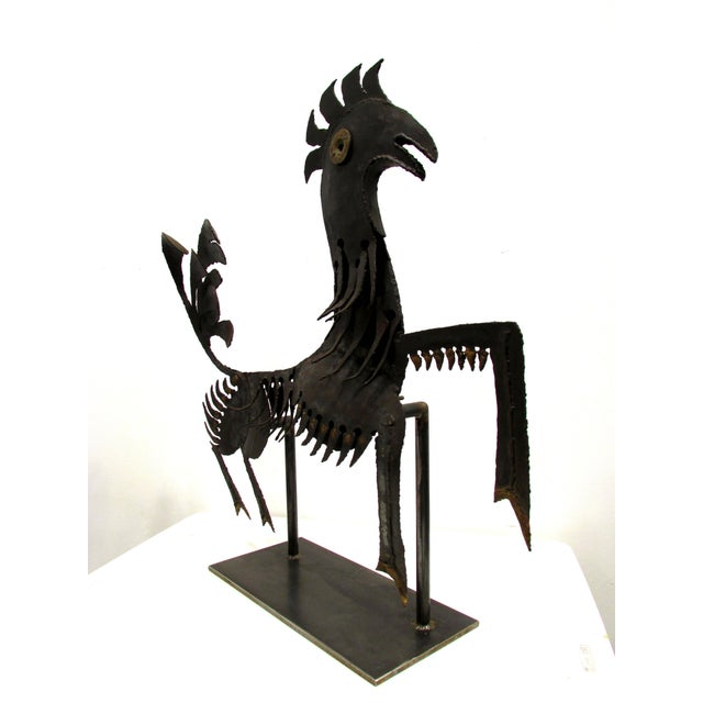 Figurative Haitian Metal Rooster Goat Sculpture For Sale - Image 3 of 11