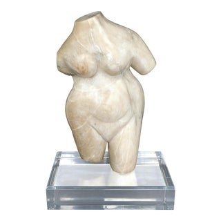 Marble Torso Sculpture on a Lucite Base For Sale