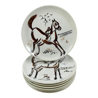 Ed Langbein Mid-Century Modern Hand Painted Italian Jockey on Horses Plates, S/8 For Sale