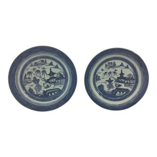 Antique Blue and White Canton Plates - a Pair For Sale