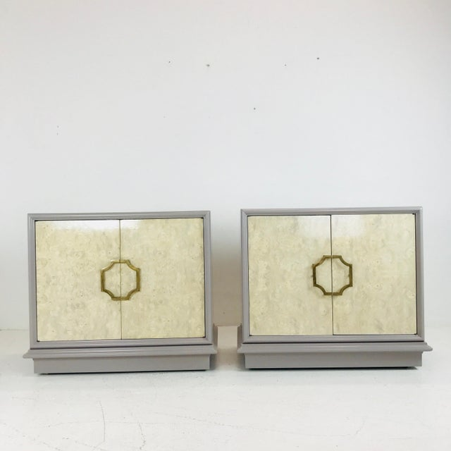 Cream Pair of Mastercraft Bachelor Burl and Lacquer Cabinets For Sale - Image 8 of 13