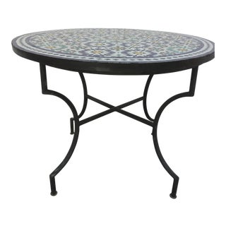 20th Century Moroccan Outdoor Mosaic Tile Table From Fez in Traditional Moorish Design For Sale
