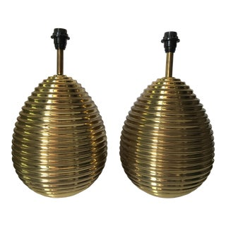Vintage Italian Brass Behive Lamps - a Pair